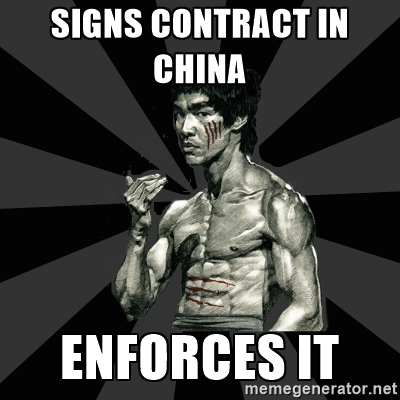 Bruce thinks contracts matter in China